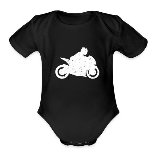 Super Sport Bike Motorcycle Rider Distressed - Organic Short Sleeve Baby Bodysuit