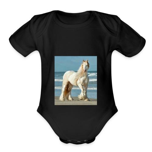 horse dimond - Organic Short Sleeve Baby Bodysuit