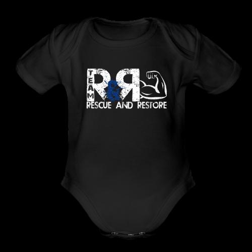 Team Rescue & Restore Blue Logo - Organic Short Sleeve Baby Bodysuit
