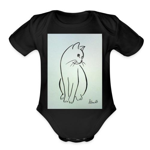9ee232d2cb0d509fa6191e9fe868e6ec this a cat design - Organic Short Sleeve Baby Bodysuit