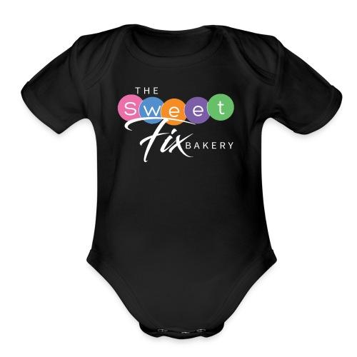 The Sweet Fix Logo White - Organic Short Sleeve Baby Bodysuit
