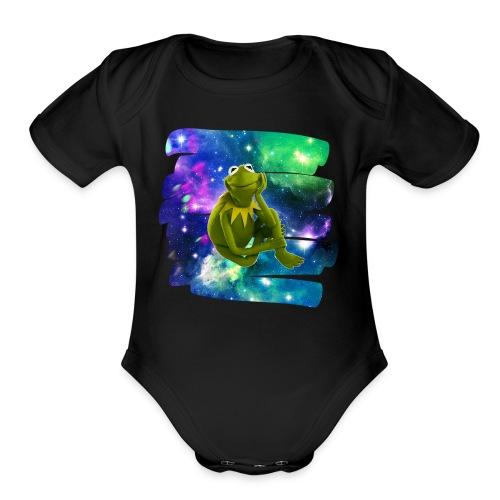 Kermit the frog in the never ending void. - Organic Short Sleeve Baby Bodysuit