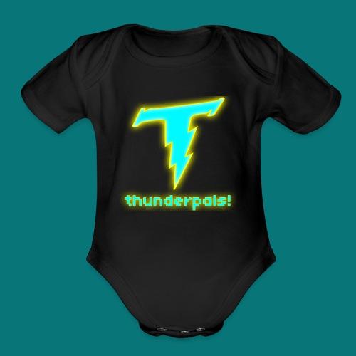 Thunder Pals Logo And Text - Organic Short Sleeve Baby Bodysuit