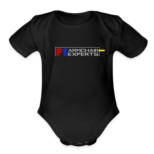 F1 Armchair Experts Official Logo WHT - Organic Short Sleeve Baby Bodysuit