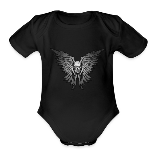 Classic Distressed Skull Wings Illustration - Organic Short Sleeve Baby Bodysuit