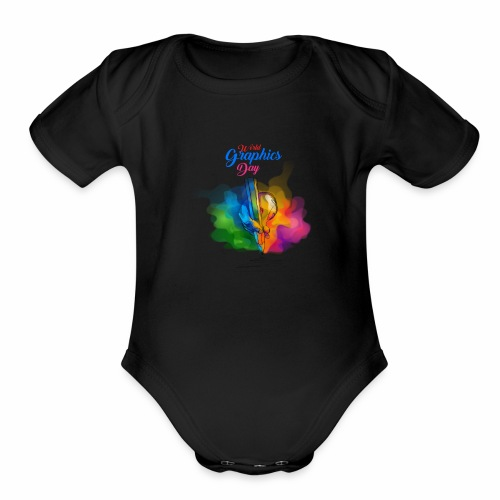 world graphics day - Organic Short Sleeve Baby Bodysuit