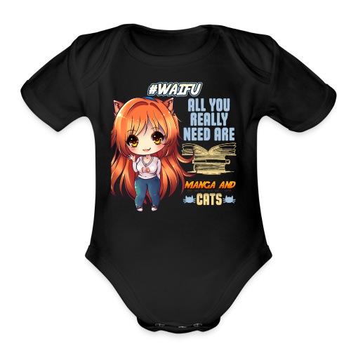 MANGA AND CATS - Organic Short Sleeve Baby Bodysuit