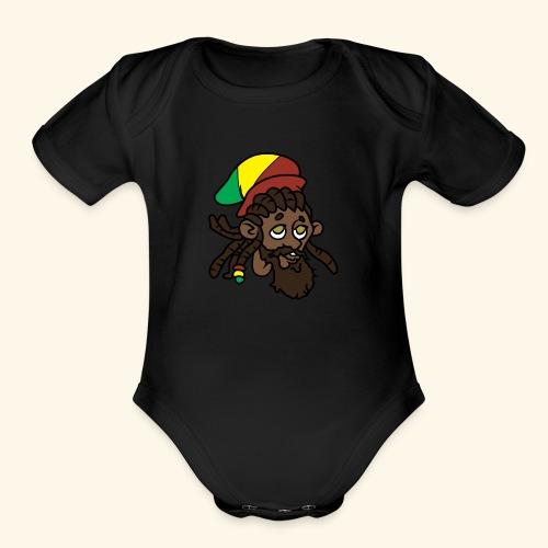 Rasta Ricky Head Logo - Organic Short Sleeve Baby Bodysuit