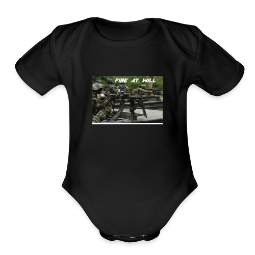 fire at will - Organic Short Sleeve Baby Bodysuit