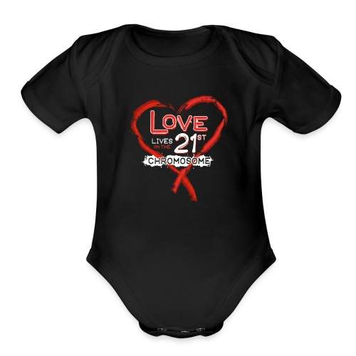 Down Syndrome Love (Red/White) - Organic Short Sleeve Baby Bodysuit