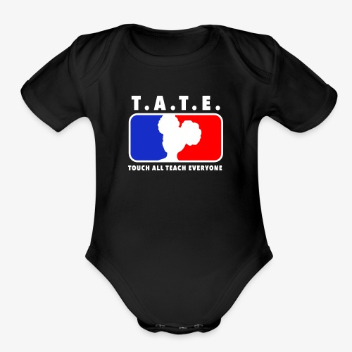 Touch All Teach Everyone Afro Puffs Logo - Organic Short Sleeve Baby Bodysuit