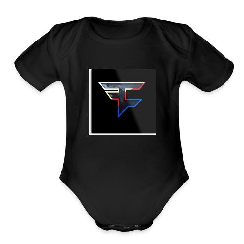 Faze Logo 05 - Organic Short Sleeve Baby Bodysuit