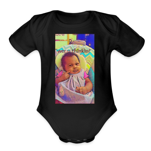 T Pheenie shirt wer u thinkin - Organic Short Sleeve Baby Bodysuit