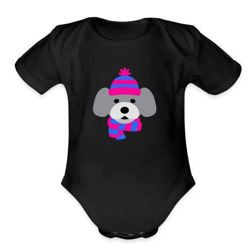 Cute Grey dog in pink and blue hat and scarf - Organic Short Sleeve Baby Bodysuit