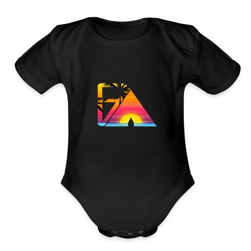 Beach theme - Organic Short Sleeve Baby Bodysuit