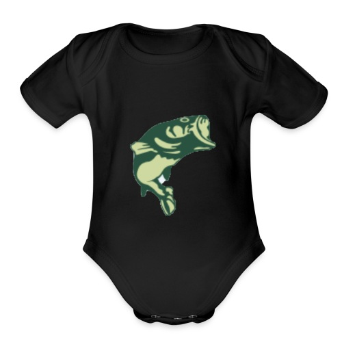 bass fishing rodbenders tee - Organic Short Sleeve Baby Bodysuit