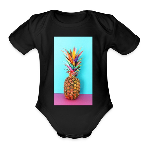Colorful pineapple - Organic Short Sleeve Baby Bodysuit