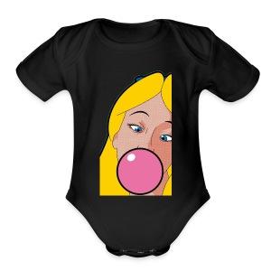 Comic Alice - Short Sleeve Baby Bodysuit