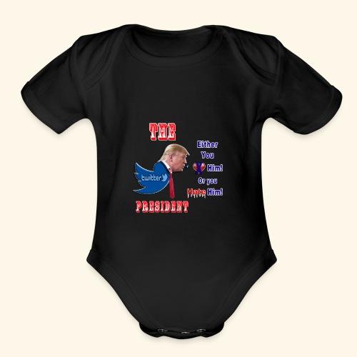 8D HATE TrumpTwitterBird - Organic Short Sleeve Baby Bodysuit