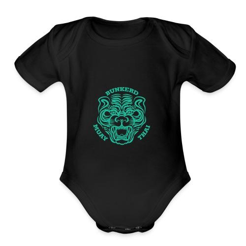 Tiger Print green - Organic Short Sleeve Baby Bodysuit