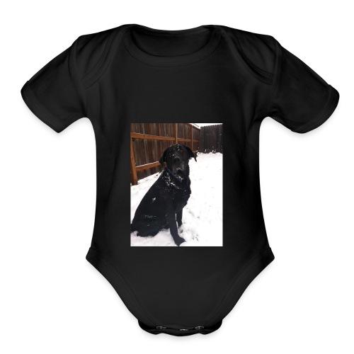 dog2 - Organic Short Sleeve Baby Bodysuit