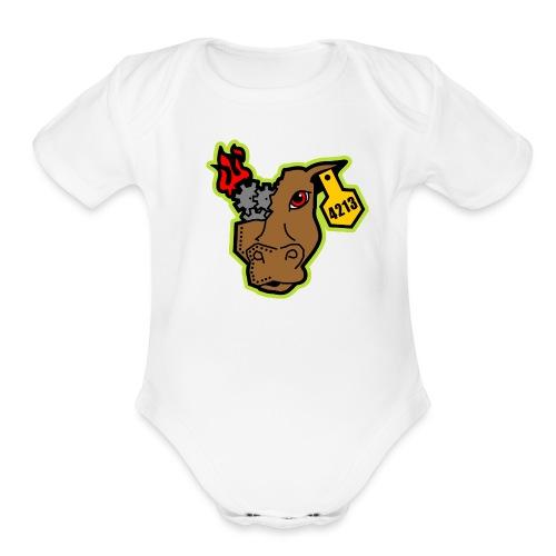 MetalCowRobotics Logo with Green Outline - Organic Short Sleeve Baby Bodysuit