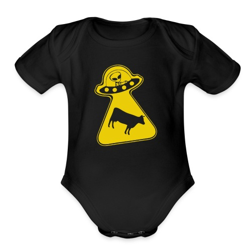 peace ufo ovni cow - Organic Short Sleeve Baby Bodysuit