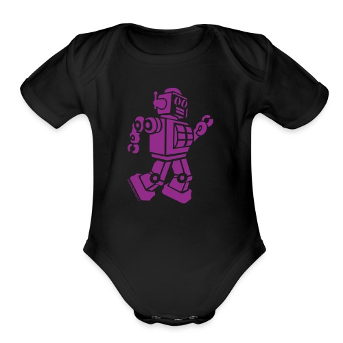 Dancing Robot #2 Purple - Organic Short Sleeve Baby Bodysuit
