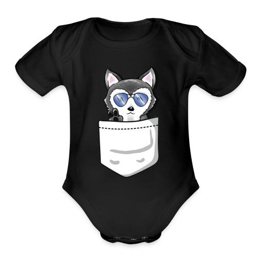 HuskenRaider pocket husky - White Pocket - Organic Short Sleeve Baby Bodysuit