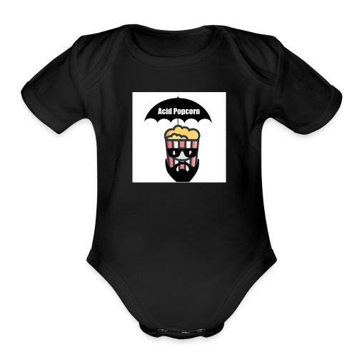 Acid Popcorn Logo Official - Organic Short Sleeve Baby Bodysuit