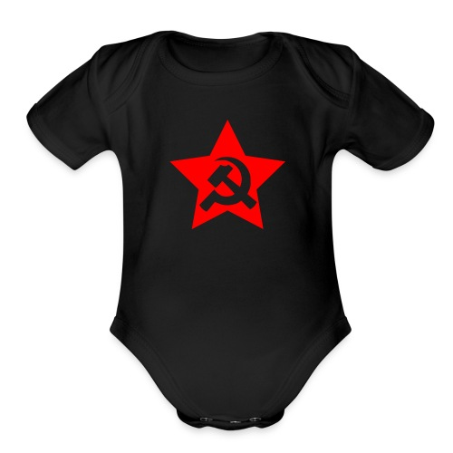 red and white star hammer and sickle - Organic Short Sleeve Baby Bodysuit
