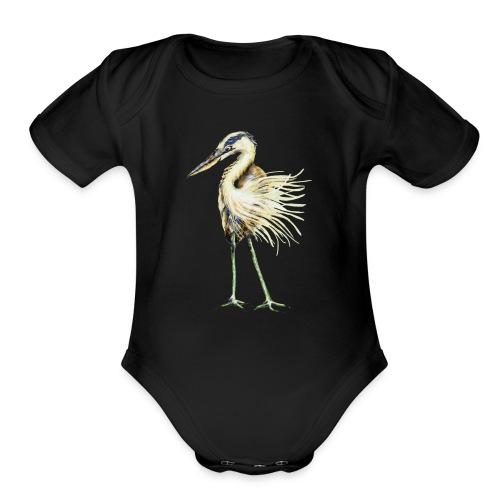 Great Blue Heron - Organic Short Sleeve Baby Bodysuit