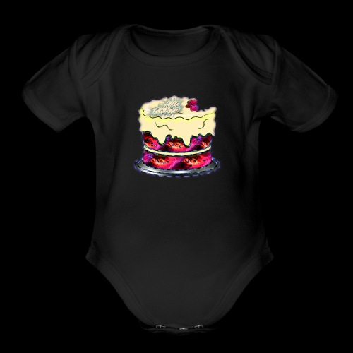The Baked Space Cake logo - Organic Short Sleeve Baby Bodysuit