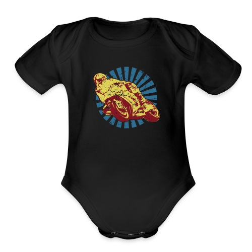Sportbike Racing Motorcycle - Organic Short Sleeve Baby Bodysuit