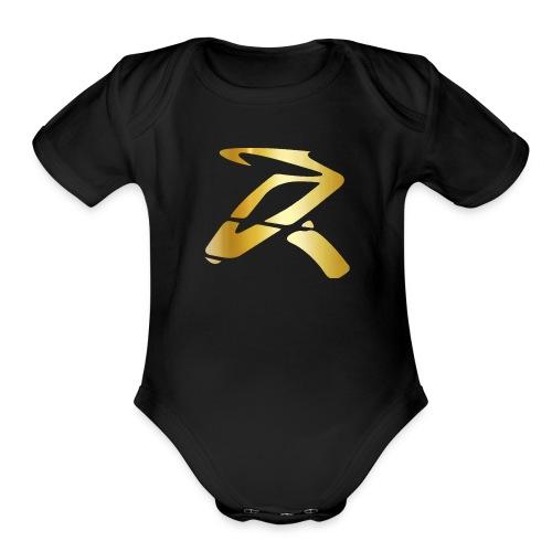 Rizz R Logo GOLD - Organic Short Sleeve Baby Bodysuit