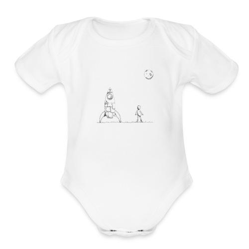 rocket to the moon - Organic Short Sleeve Baby Bodysuit