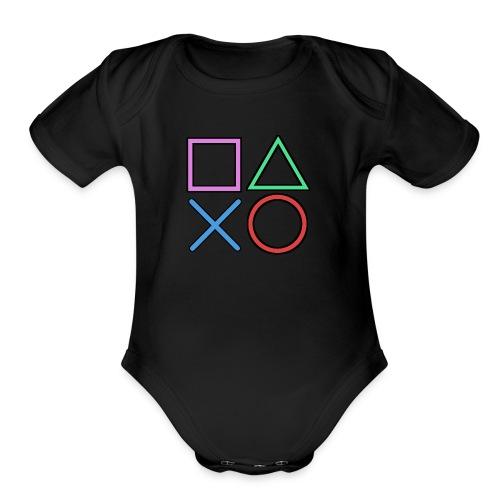 Gamer Buttons - Organic Short Sleeve Baby Bodysuit