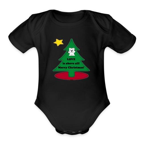 Christmas is love - Organic Short Sleeve Baby Bodysuit