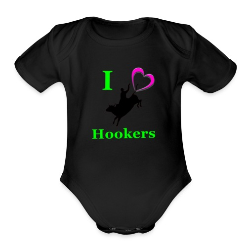 I_Love_Hookers2 - Organic Short Sleeve Baby Bodysuit