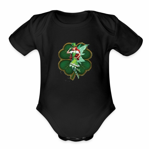 Irish Fairy Four Leaf Clover - Organic Short Sleeve Baby Bodysuit