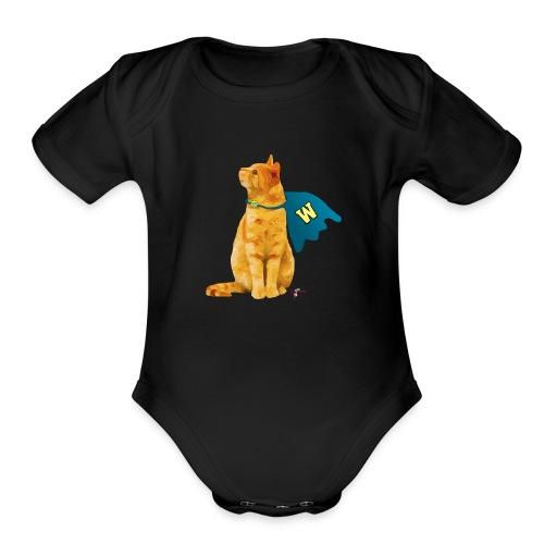 Wonder Cat with Cape - Organic Short Sleeve Baby Bodysuit