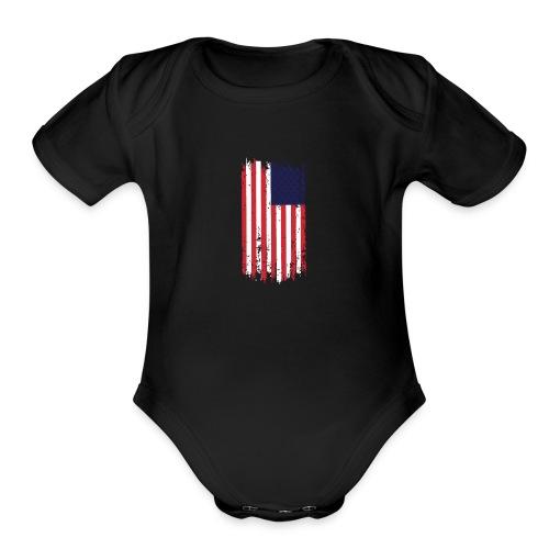 American Flag Patriotic T-shirt Stars and Stripes - Organic Short Sleeve Baby Bodysuit