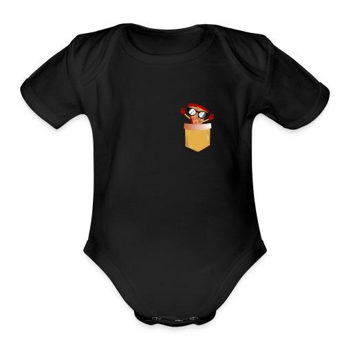 Pizza Lover pocket - Organic Short Sleeve Baby Bodysuit