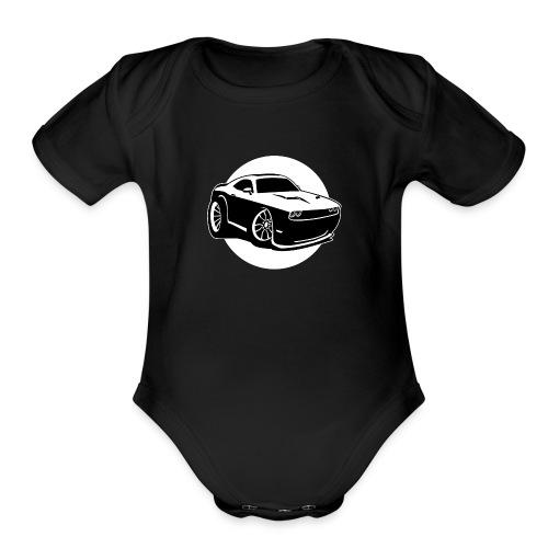Modern American Muscle Car Cartoon Illustration - Organic Short Sleeve Baby Bodysuit