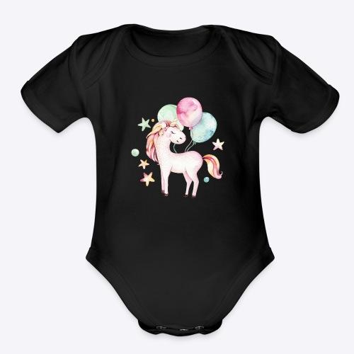 Unicorn with Baloons Mug - Organic Short Sleeve Baby Bodysuit