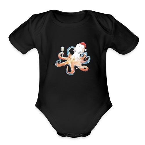 Christmas cephalopod - Organic Short Sleeve Baby Bodysuit