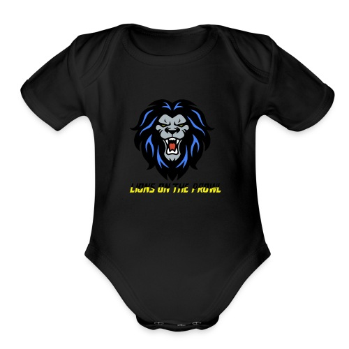 Lions On The Prowl` - Organic Short Sleeve Baby Bodysuit