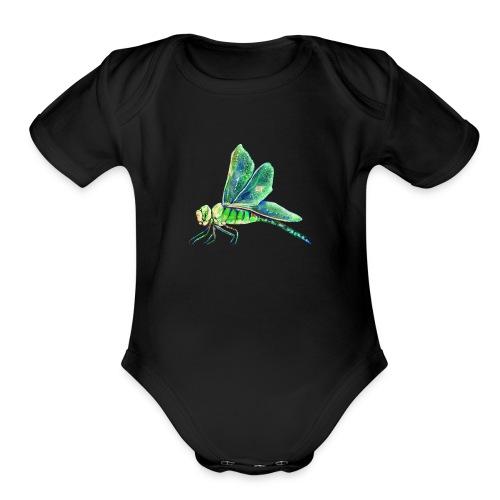 green dragonfly - Organic Short Sleeve Baby Bodysuit