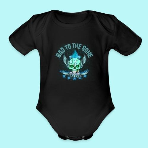 Bad to the bone blue hoodie - Organic Short Sleeve Baby Bodysuit