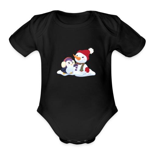 Penguin & Snowman Winter Friends - Organic Short Sleeve Baby Bodysuit